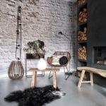 woonkamer met brickwall