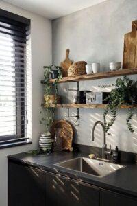 keukenplanken betonlook muur