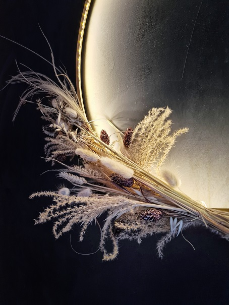 kerstkrans droogbloemen krans verlichting