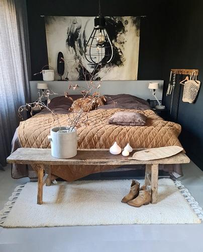chocoladebruin beddengoed essenza huizedop slaapkamer
