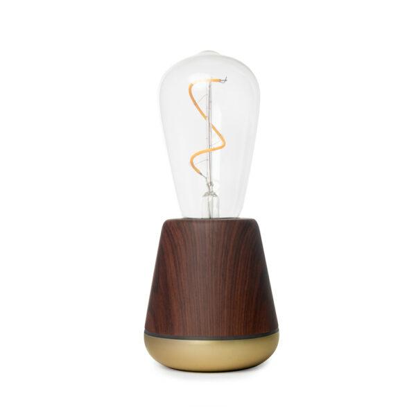 Walnut tafellamp zonder snoer