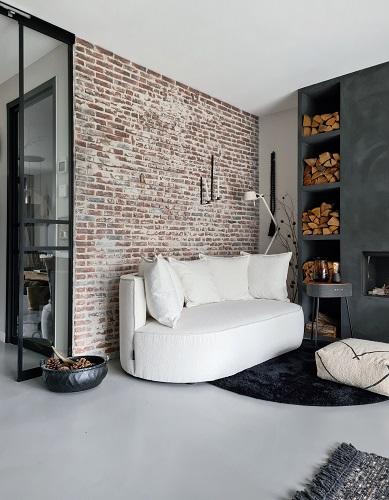 bakstenen muur loungebank