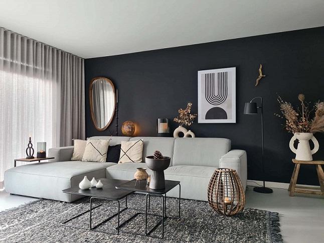 gezellige woonkamer interieurideeën donkere muur grijze bank
