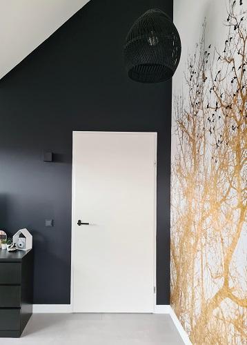 slate grey donkergrijze muur zolderkamer tienerkamer